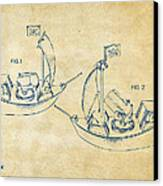 Pirate Ship Patent Artwork - Vintage Canvas Print by Nikki Marie Smith