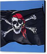 Pirate Skull Flag With Red Scarf Canvas Print by Garry Gay