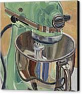 Pistachio Retro Designed Chrome Flour Mixer Canvas Print by Jennie Traill Schaeffer