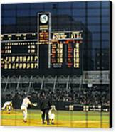 Pitching To A Hitter In Old Yankee Stadium Canvas Print by Retro Images Archive