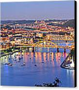 Pittsburgh Pennsylvania Skyline At Dusk Sunset Extra Wide Panorama Canvas Print