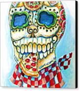 Pizza Sugar Skull Canvas Print