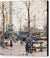 Place De La Bastille Paris Canvas Print by Eugene Galien-Laloue