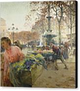Place Du Theatre Francais Paris Canvas Print by Eugene Galien-Laloue