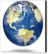 Planet Earth On White - America Canvas Print by Johan Swanepoel