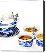 Playing Among Blue-and-white Porcelain Little People On Food Canvas Print by Paul Ge