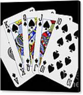 Playing Cards Royal Flush On Black Background Canvas Print by Natalie Kinnear