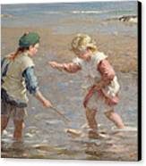 Playing In The Shallows Canvas Print by William Marshall Brown