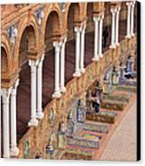 Plaza De Espana Colonnade In Seville Canvas Print by Artur Bogacki