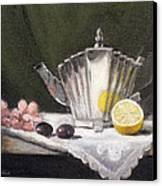 Pleated Teapot With Lemon Canvas Print by Sarah Parks