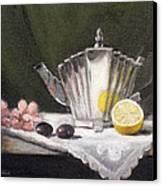 Pleated Teapot With Lemon Canvas Print