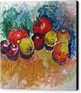 Plums Lemons Tomatoes Canvas Print by Vladimir Kezerashvili
