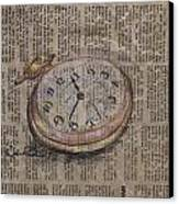 Pocket Watch Canvas Print by Kathy Weidner