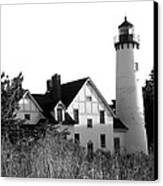 Point Iroquois Lighthouse In B/w Canvas Print by Sharon McLain