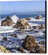 Point Lobos Rocks And Waves Canvas Print by Ken Brown