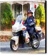 Police - Suburban Motorcycle Cop Canvas Print