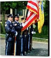 Policeman - Police Color Guard Canvas Print by Susan Savad