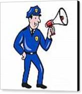 Policeman Shouting Bullhorn Isolated Cartoon Canvas Print