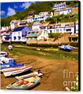 Polperro At Low Tide Canvas Print by David Smith