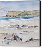 Polzeath And Pentire Head Canvas Print
