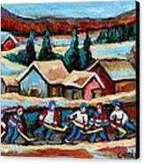Pond Hockey 2 Canvas Print by Carole Spandau