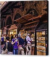 Ponte Vecchio Merchants - Florence Canvas Print by Jon Berghoff