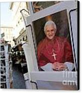Pope Benedict Xvi. Postcard In A Rack. Rome. Lazio. Italy. Europe Canvas Print by Bernard Jaubert