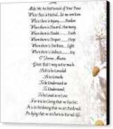 Pope Francis St. Francis Simple Prayer Daisies Canvas Print by Desiderata Gallery