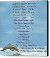 Pope Francis St. Francis Simple Prayer Dolphins Tking A Leap Of Faith Canvas Print by Desiderata Gallery