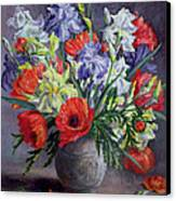 Poppies And Irises Canvas Print by Anthea Durose