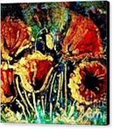 Poppies In Gold Canvas Print by Zaira Dzhaubaeva