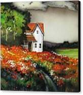 Poppies On The Old Homestead Canvas Print by Kendra Sorum