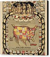 Pork Map Of The United States From 1876 Canvas Print