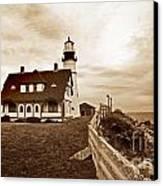 Portland Head Lighthouse In Sepia Canvas Print