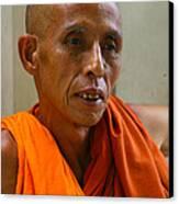 Portrait Of A Buddhist Monk Yangon Myanmar Canvas Print