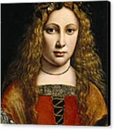 Portrait Of A Youth Crowned With Flowers Canvas Print by Giovanni Antonio Boltraffio