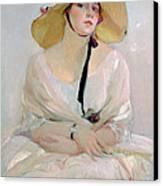 Portrait Of Raquel Meller Canvas Print by Joaquin Sorolla y Bastida