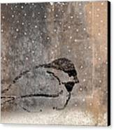 Postcard Chickadee In The Snow Canvas Print