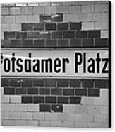 Potsdamer Platz Berlin U-bahn Underground Railway Station Name Plate Germany Canvas Print by Joe Fox