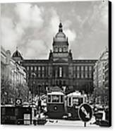 Prague Wenceslas Square And National Museum Canvas Print by Christine Till