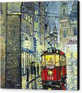 Praha Red Tram Mostecka Str  Canvas Print by Yuriy  Shevchuk