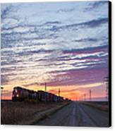 Prairie Sunrise With Train Canvas Print