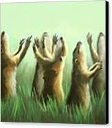 Praising Prairie Dogs Canvas Print by Anthony Falbo