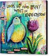 Praying And Waiting Bird Canvas Print by Lauretta Curtis