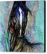Psychodelic Blue And Green Canvas Print by Angel  Tarantella