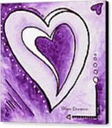 Purple Heart Love Painting Pop Art Blessed By Megan Duncanson Canvas Print by Megan Duncanson