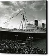 Queen Elizabeth Ship In Harbor By Barney Stein Canvas Print by Retro Images Archive