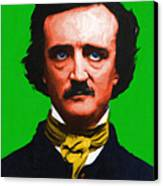 Quoth The Raven Nevermore - Edgar Allan Poe - Painterly - Green - With Text Canvas Print