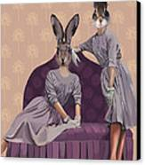 Rabbits In Purple Canvas Print by Kelly McLaughlan