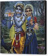 Radha And Krishna On Full Moon Canvas Print by Vrindavan Das